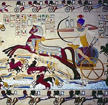 Mural of egyptian archer on chariot