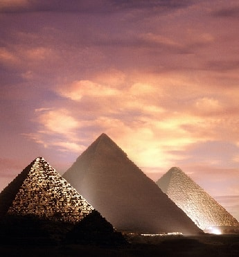 Pyramids on the Giza Plateau at night