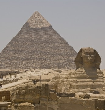 The Great Pyramid with the Sphinx in foreground