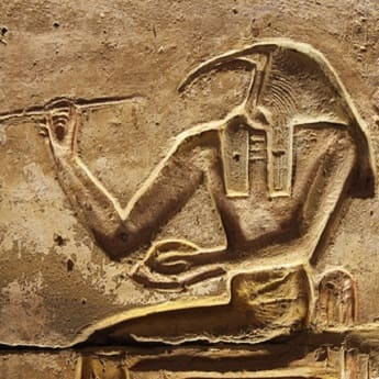 Stone carving depicting Egyptian God Thoth